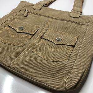 Levi's Tan Corduroy Pocket Canvas Zip Tote Bag